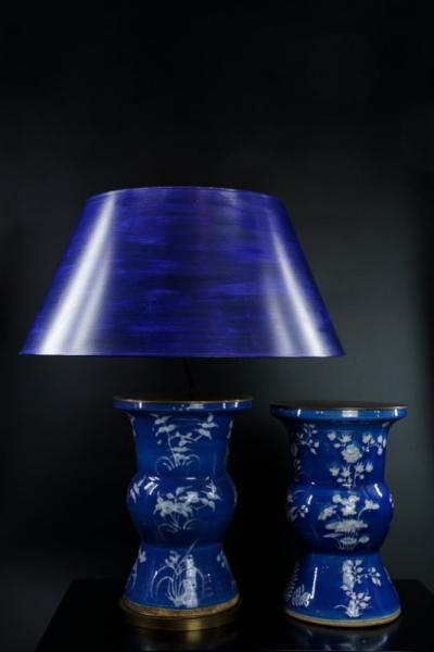 Chinesische Vase dunkelblau-weiß (Paar)