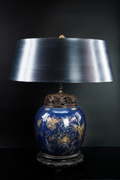 Chinesische Vase blau-gold